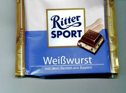 Chocolate: Ritter Sport Bavarian veal sausage